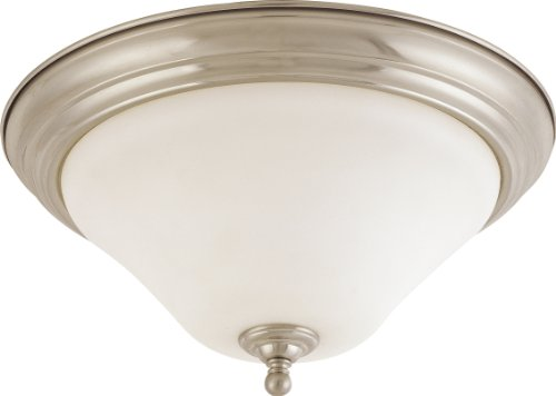 Nuvo Lighting 60/1906 Dupont 2-Light Large Flush Dome with Satin White Glass, Brushed Nickel