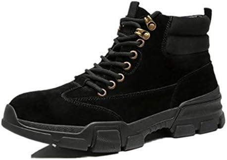 男性ハイトップブーツレースアップスタイル本革マット臨時コンフォートテクノロジーアンチ用半長靴は屋外のラウンドトウスリップ YueB HAL (Color : ブラック, サイズ : 27 CM)