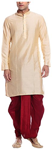 Kurta Dhoti (Royal Kurta Men's Cotton Silk Dhoti Kurta Set 40 Gold-Maroon)