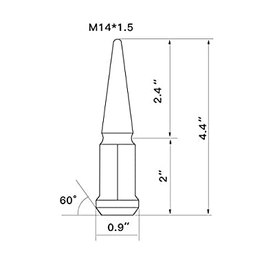 Hunting Horse Spike Lug Nuts 14mmx1.5 Set of 20 pcs with 1 Key, Black: Automotive