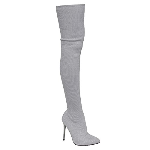 Beston EK34 Women's Stretchy Snug Fit Sock Thigh High Boots Half Size Small, Color Silver, Size:8