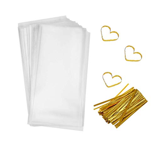 Clear Flat Bags Cellophane Bags 200 PCS Clear Cello Treat Bags Party Favor Flat Bags for Gift Bakery Cookies Candies Dessert with 200 PCS Metallic Twist Ties (4 by 9 Inch) ()