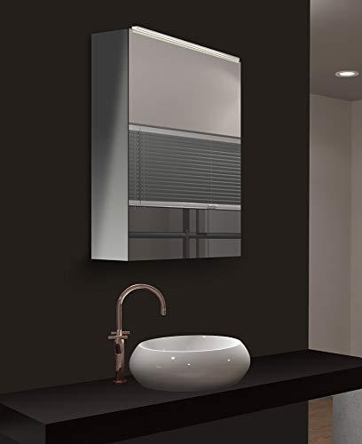 Talos Mirage Mirror Cabinet, Glass, Silver, 50 x 60 cm
