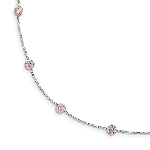 (925 Sterling Silver Pink Cubic Zirconia Cz Chain Necklace Pendant Charm Fine Jewelry Gifts For Women For Her)