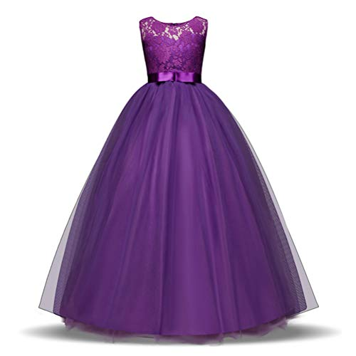 Princes Dresses Lace Tulle Round Neck Sleeveless Satin Bow Sash Flower Girl Dress A-Line Vintage Party Pageant Prom Dresses Ball Gown for Girls 11-12 Years Old Purple