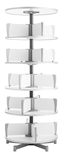 (Moll Deluxe Binder & File Carousel Shelving with Five Tier, Shown with Top Shelf (Sold Separately), White)