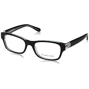 Michael Kors Ravenna Women's MK 8001 3001 Black On Blue Crystal Plastic Rectangle Eyeglasses 53 mm