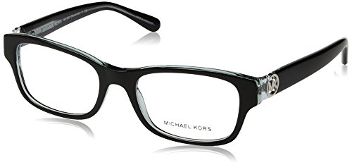 Michael Kors Ravenna Women's MK 8001 3001 Black On Blue Crystal Plastic Rectangle Eyeglasses 51 - Kors Eyeglasses Michael