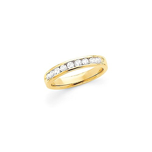 0.52 Carat (ctw) 14k Yellow Gold Ladies Bridal Comfort Fit 9 Stone Diamond Channel Band 1/2CT by JewelrySuperMart Collection