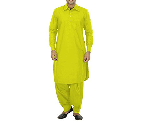 Royal Kurta Men's India Traditonal Linen Pathani Suit Yellow (Best Pathani Suit For Mens)