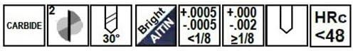3//8 Shank TiCN 3//8 Dia 2 Flute 82176; Solid Carbide Drill Mill 1 LOC 2-1//2 OAL