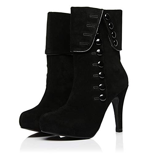 f182ab6b593 Skanlity Women Platform Boots Red Black Color Woman Winter Boots with Plush  Thin Heels