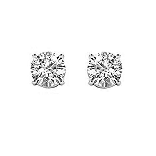 IGI Certified 1/4ct Diamond Stud Earrings for Women set in 14K White Gold(Clarity I-J, I2) ()