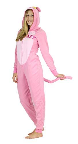 Pink Panther Women's Hooded Onesie Pajama Union Suit Costume, Sneaky Pink, Medium