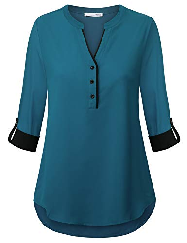 Messic Womens Henley V Neck Roll Sleeve Chiffon Shirts Casual Office Tunic Blouse (Dark Cyan, Large)