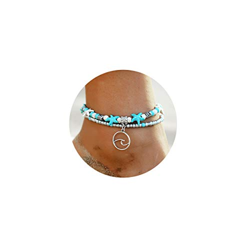 - FINETOO Wave Blue Starfish Silver Turtle Anklet Multi-Layer Turquoise Charm Beads Sea Bench Handmade Boho Anklet Foot Jewelry Gifts for Women
