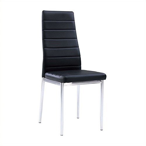 (Global Furniture USA D140DC-Global Piece Dining Chair Black Pu W/Chrome Legs)