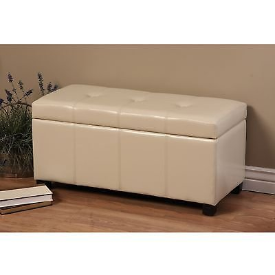 Ivory Faux Leather (Whse of Tiffany Ariel Wood and Faux Leather Storage Bench, Ivory)