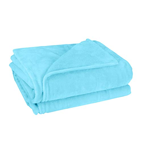 uxcell Flannel Fleece Blanket Soft Lightweight Plush Microfiber Bed or Couch Blanket, Sky Blue Twin