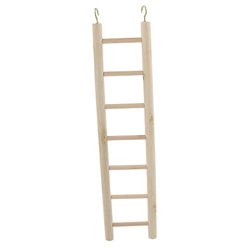 Wooden Bird Ladder Toy, Parrot Climbing Hanging Ladders Perches Toys Cage Accessories for Small and Medium Parrots Parakeets Cockatiels Lovebirds Sun Conures Caique Finches Hamsters (7-Steps Ladder)