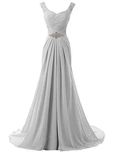 (Victoria Prom Women's Beaded Chiffon Long Evening Dress Formal Prom Gown Beach Wedding Dress Grey us14)