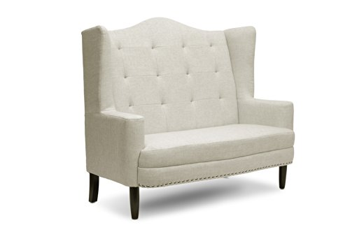 Baxton Studio Kerrigan Linen Modern Settee, Beige (Room Small Banquette For Dining Seating)