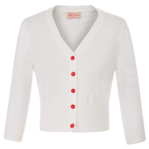 (Women's Button Down Long Sleeve Cropped Cardigan Soft Knit Cardigan Sweater Ivory White Size 2XL BP928-2)