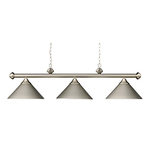 (Alumbrada Collection Casual Traditions 3 Light Billiard In Satin Nickel With Matching Metal)