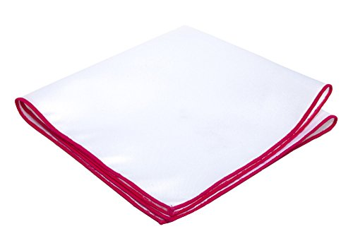 Jacob Alexander Solid White Pocket Square with Embroidered Edge - Fuschia Pink ()
