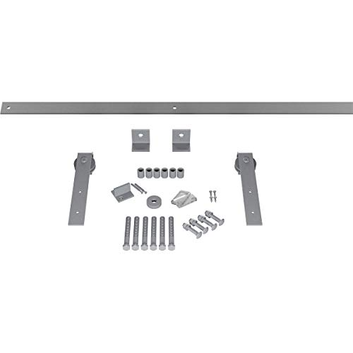 Goldberg Brothers Inc. GB60014H7FG Premium J-Strap Set Barn Door Hardware, 84 Inch Track Length (for 1 3/4 Thick, Flint…
