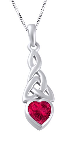 Birthstone Trinity Knot - AFFY Trinity Heart Celtic Knot Pendant Necklace Simulated Ruby 14K White Gold Over Sterling Silver