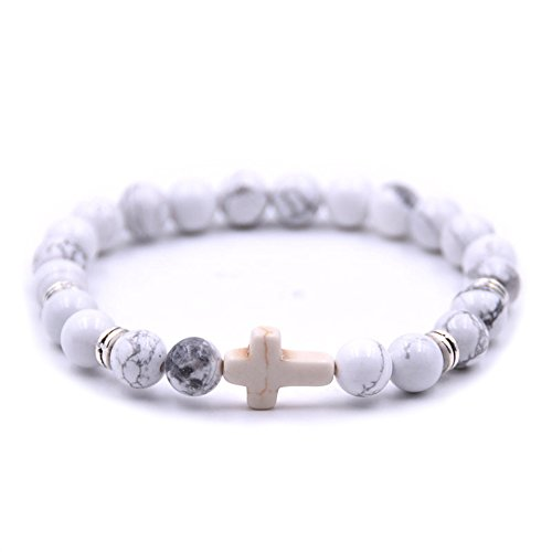 (ZHEPIN Fashion Alloy Cross 8MM Beads Bracelet Bangle for Boy Girl Prayer Bracelets,7.5)