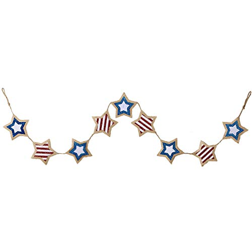 DII CAMZ11139 Indoor/Outdoor Patriotic Garland Banner Wall Fourth of July Décor]()