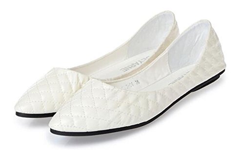 SHOWHOW Womens Stylish Ballet Pointed Toe Low Top Slip On Loafers Flats Shoes White 3NTxzx