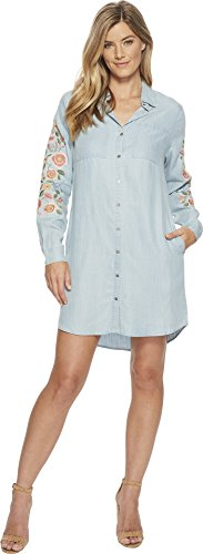 Miss Me Women's Flower Embroidered Button Down shirtdress Denim Blue Medium