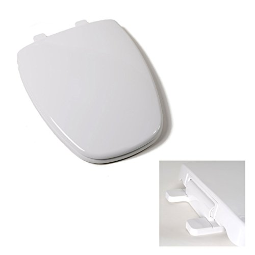 Deluxe Premium Plastic Square Slow-Close White Elongated Toilet Seat for Eljer Toilets