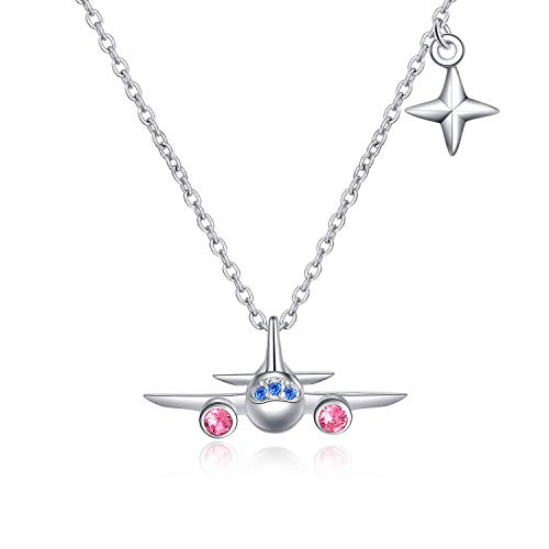 AOBOCO Sterling Silver Airplane Pendant Necklace North Star Adjustable Necklace with Swarovski Crystals,Fine Jewelry Gift for Women Girls Stewardess Flight Attendant Traveler