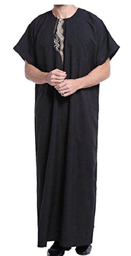 64ba0d90c8a ouxiuli Men s Short Sleeve Muslim Thobe Arabic Arab Robe Clothing Black M