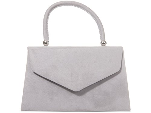 Tote Retro Evening Clutch Hand Grey fi9 Ladies Bag Party Purse Style Wedding Suede Prom ESnqgR