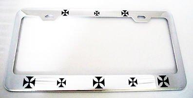 Cover Iron Cross (Moon IRON CROSS HEAVY DUTY Metal Chrome License Plate Frame PREMIUM Men Women Car garadge decor)