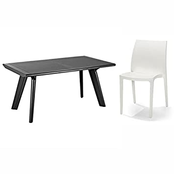 Allibert table dante lot de 6 chaises sento blanc de jardin ...