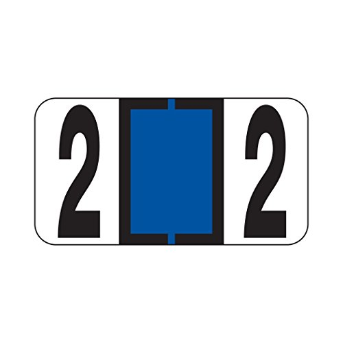 AMZfiling Numeric Labels- Number 2, Blue, Reynolds & Reynolds RF Compatible (Polylaminated, 500/Roll)