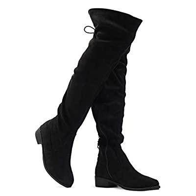 Women's Over The Knee Low Heel Kate Lace Up Tall Boots | Over-the-Knee
