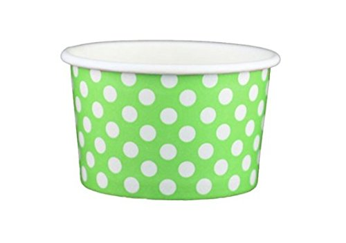 Green Ice Cream - Black Cat Avenue Paper Ice Cream Cups, Polka Dot, Green, 4 Ounce, 50 Count
