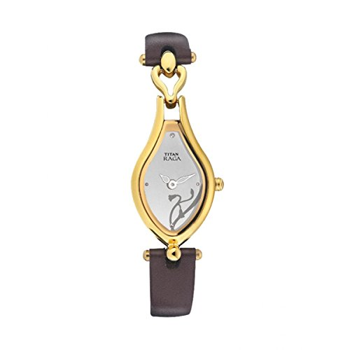 Titan Women's Raga Gold Metal Jewellery Bangle Design, Bracelet Clasp, Quartz Glass, Water Resistant Analog Wrist Watch (White) ()