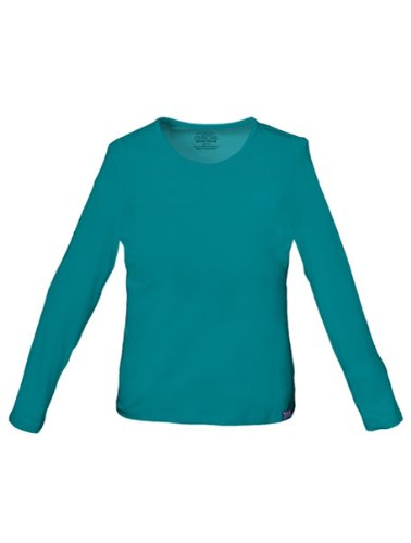 Cherokee Womens Core Stretch Long Sleeve Crew Neck Knit Tee, Teal Blue, X-Small ()