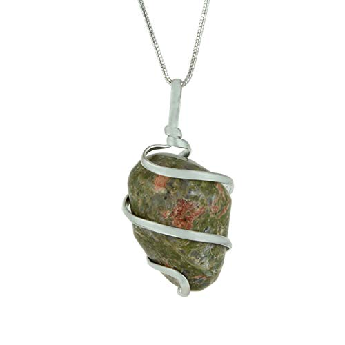 Unakite Jasper Gemstone Pendant Necklace - Natural Crystal Healing | Stone for Living in The Here & Now| Heart and Third Eye Chakras | Aligns Heart and Mind for Life Harmony| Jewelry for Men & Women ()