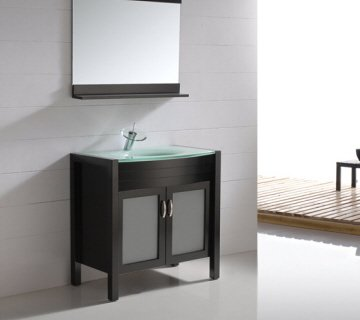 Genial 35 Inch Modern Style Vina Single Sink Vanity Cabinet With Glass Countertop