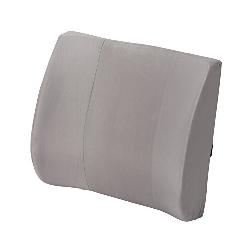 Duro-Med Contour Lumbar Back Support Cushion Pillow with Strap, Gray - Road Support