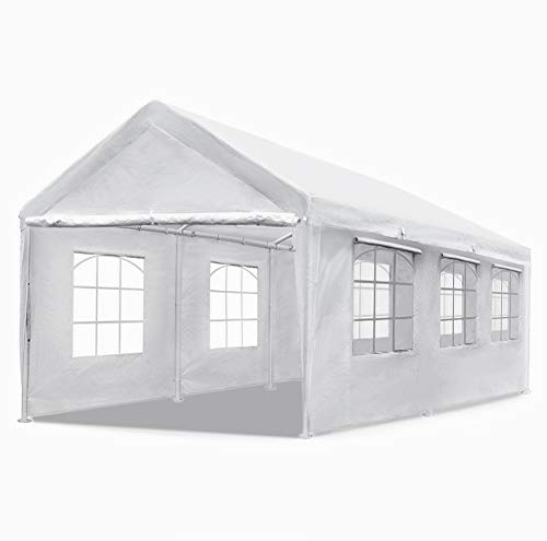 Quictent 20' x 10' Heavy Duty Carport Gazebo Canopy Garage Car Shelter White (with Windows)
